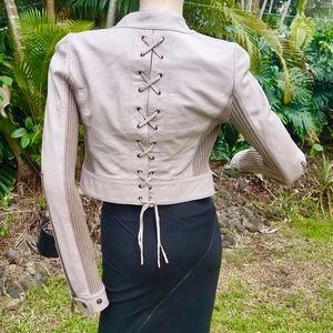 YA-YA Lilac/Grey Italian Lambskin/Silk Crop Jacket